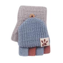 Rękawiczki robione na drutach miękkie kabriolet Flip Top rękawiczki dziecięce zimowe ciepłe dzianiny rękawiczki bez palców rękawiczki dziecięce dziecięce gant enfant hiver tanie tanio CN (pochodzenie) COTTON Stałe Unisex Baby Winter Warm Knit Fingerless Mitten