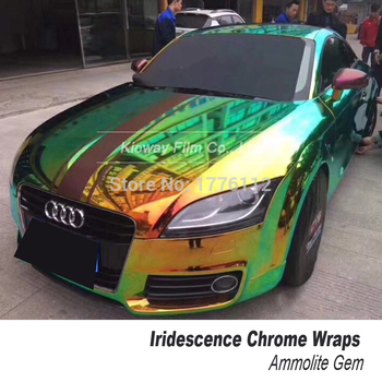 Premium Ammolite Gem Mystic Chrome wrapping film Rainbow Holographic Automobiles Vehicle  Car Wrap Vinyl Sticker Three colors