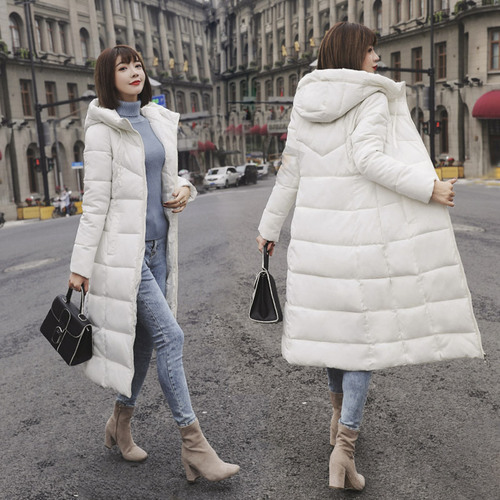 Photo Shoot 2019 Autumn And Winter Down Cotton Korean-style Large Size Dress Mid-length Repair Versatile Body Cotton Overcoat Al