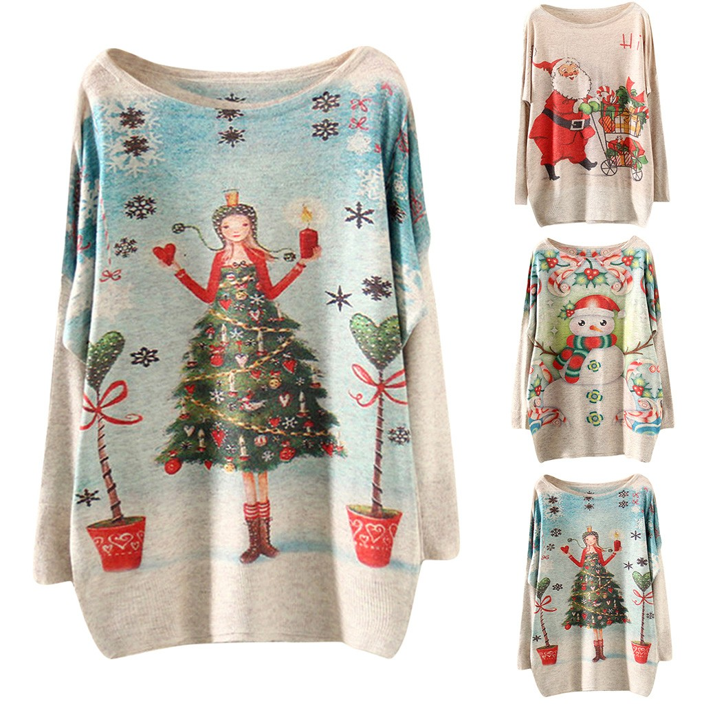 Christmas Sweaters Women New Year Knitted Pullovers Winter Santa Claus Print Jumper Long Sleeve Loose Warm Knits Blouse 19Oct23