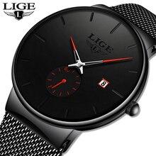 Ligeクォーツ時計スポーツメンズ腕時計トップブランドの高級有名なドレスファッション時計男性ユニセックス超薄型腕時計パラhombre
