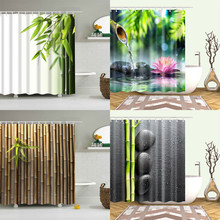 Shower-Curtain Bamboo Hooks Bathroom-Decor Landscape Green Waterproof Plant with