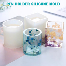 Crystal Epoxy DIY Handmade Pen Holder Silicone Mould Clear Flower Pot Moulds Dropshipping FAS