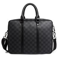 2019 New Briefcase Men's Handbags Tide Business Old Chess Board Black Plaid Computer Bag Men's Bag Leather Shoulder bag