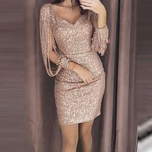 New Fashion Sexy Women V Ncek Solid Sequined Glitter Stitching Shining Club Sheath Long Sleeved Mini Dress For Female