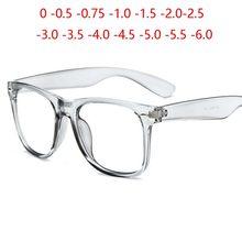 Gafas graduadas para miopía, Color caramelo, Color arroz, luz azul, cuadradas, mate, 0-0,5-0,75 a-6,0