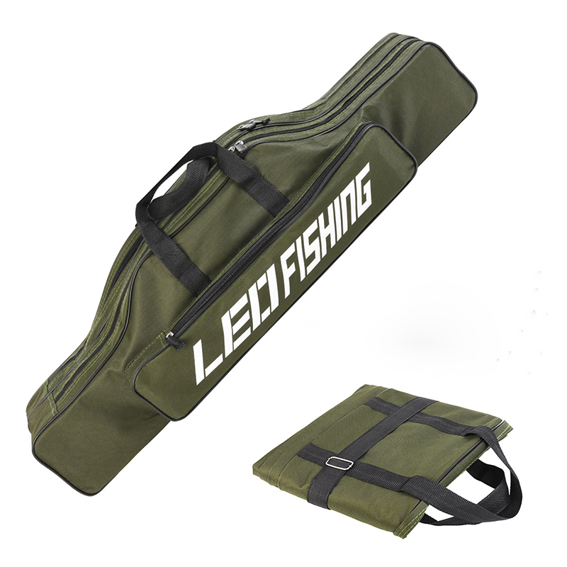 Portable 80*14*20cm Army Green 600D OXford Cloth Foldable Soft Fishing Bag Double Layer Big Belly for