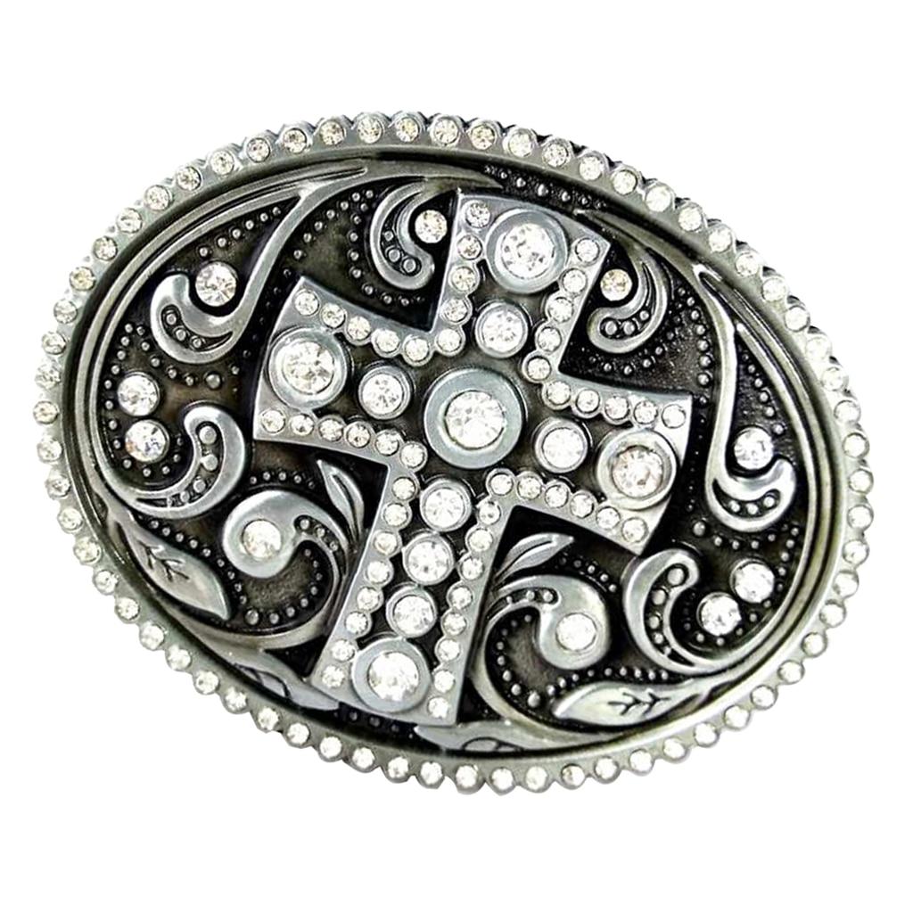 3D Cross Pattern Metal Belt Buckle Crystal Rhinestone Western Cowboy Cowgirl