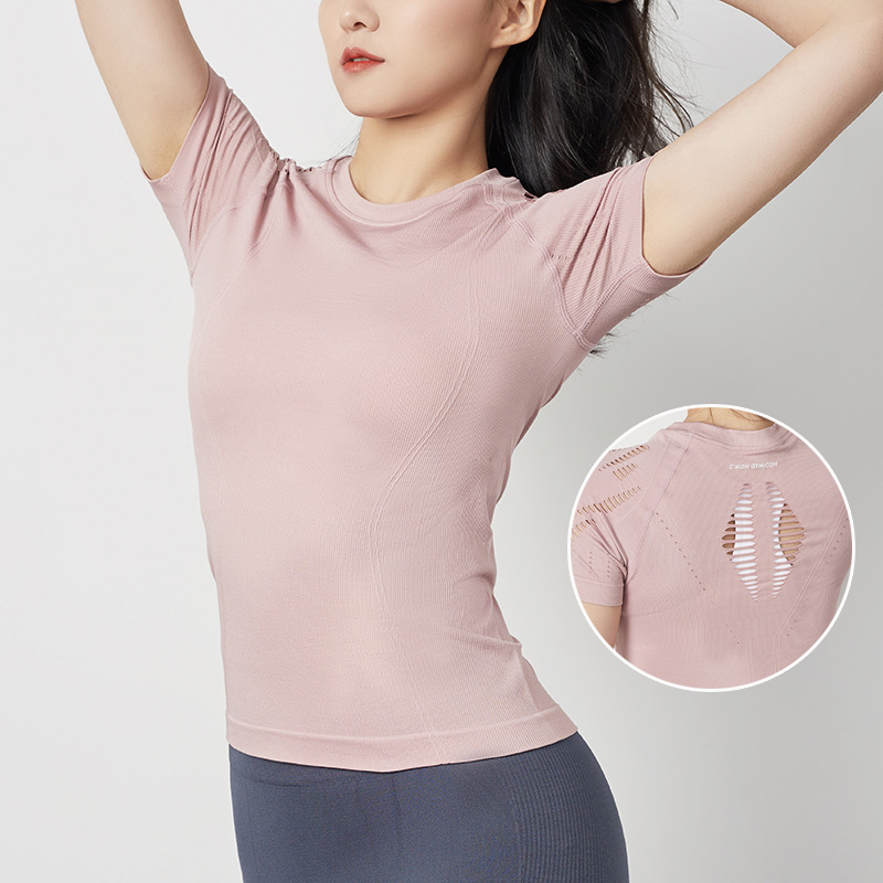 2020 New Hollow Slim Breathable Short-sleeved Running Sports Yoga Fitness Top Women Top for Fitness Lady T-shirt Fitness Clothes