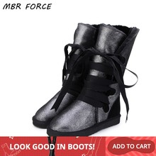 MBR FORCE New High Quality Waterproof Classic Snow Boots Genuine Leather Fur Women Boots Fashion Warm Winter Boots US 3-13(China)