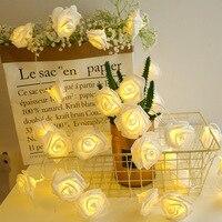 2,5 M 20 LED guirnalda ramo de flores Artificial de lámparas de Hada Rosa luces para el Día de San Valentín Navidad boda decoración
