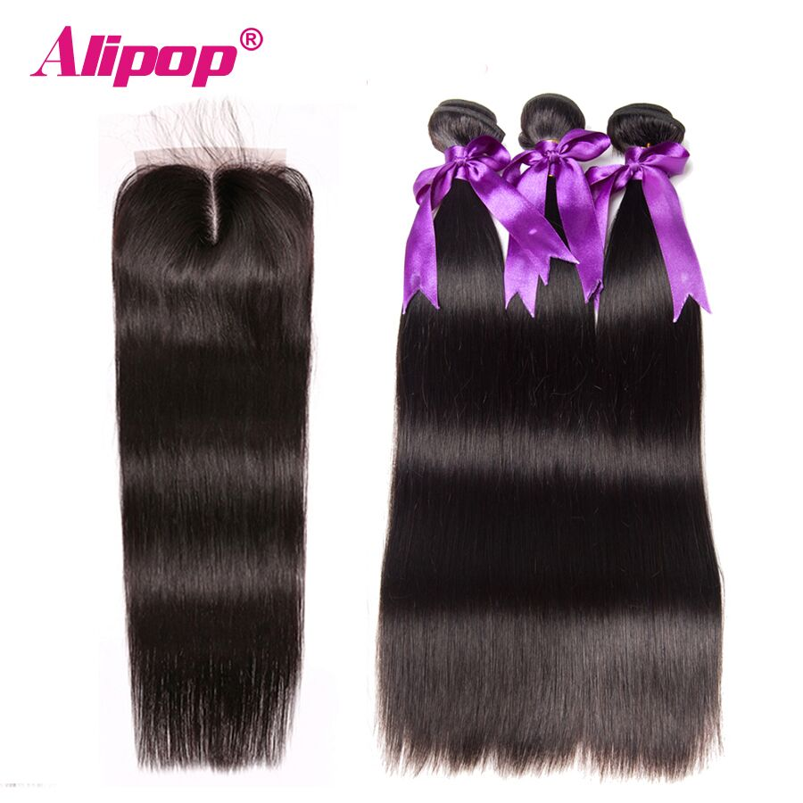 Indian Straight Hair Bundles 3 Bundles With Closure Human Hair Bundles With Closure Alipop 4