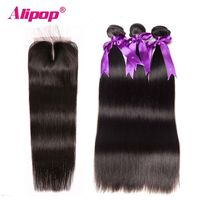 "Indian Straight Hair Bundles 3 Bundles With Closure Human Hair Bundles With Closure Alipop 4""x4"" Top Lace Closure Remy"