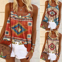 Summer Women Casual Round Neck Sleeveless Vest T Shirt Loose Retro Off Shoulder Print Sling Short Shirt Halter Plus Size Tops