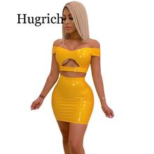 PU Leather Sexy Two Piece Set Women Off Shoulder 2 Piece Crop Top and Bodycon Skirt Set Party Summer Matching Sets Club Outfits 2019 two piece set women crop top sexy off shoulder slim bodycon nigthclub pencil dress women long sleeve 2 piece outfits