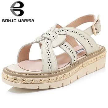 BONJOMARISA Female Classic Sandals Open Toe Solid Back Strap Platform Rivet Snadals Women 2020 Brand Shoes Woman