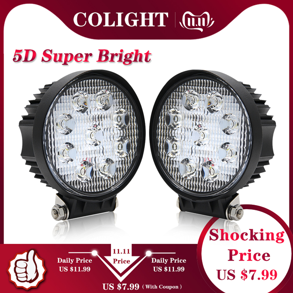 CO LIGHT 27W 4.3 Inch LED Work Light 5D Flood Spot Led Beams Driving Lamp For Truck Boat Offroad Lada ATV 4WD 12V 24V Fog Light