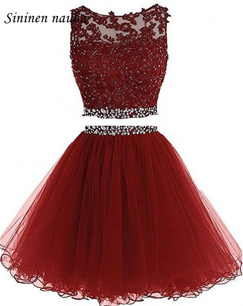 2 Piece Short Prom Party Dress Homecoming Dresses Juniors A Line Tulle Appliques Beaded Plus Size Cocktail Vestidos De Festa 10