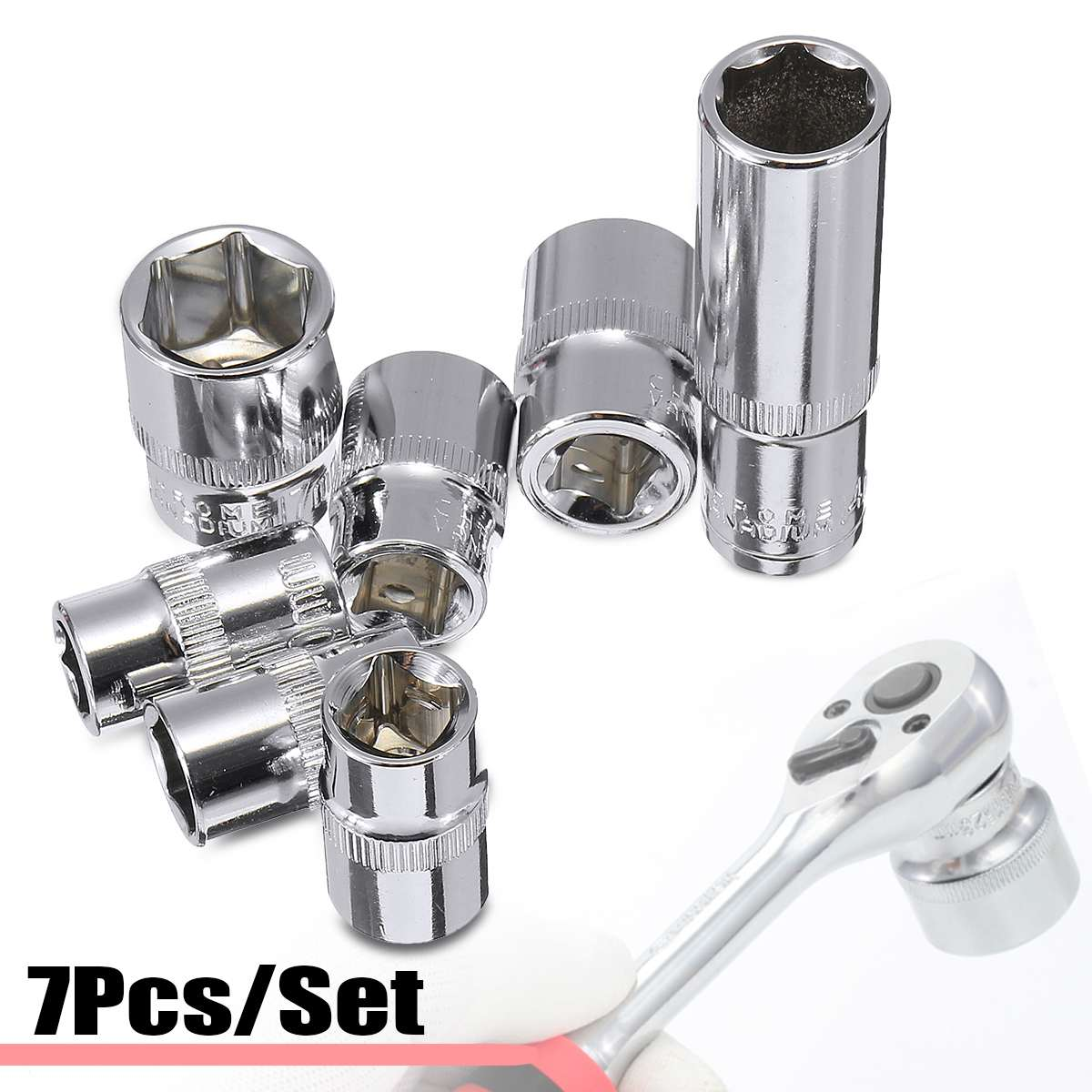 Doersupp 7Pcs Ratchet Wrench Socket Adapter Drill Bit Head Torque Spanner Socket 10/ 12/ 13/ 14/ 15/ 17mm Chrome Vanadium Steel