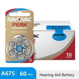 Image 1 - Стимулятор слухового аппарата Rayovac Peak Air 675A A675 1,45 PR44, 60 шт., Новый цинковый воздух, 675 в, Бесплатная доставка! Аккумулятор слухового аппарата