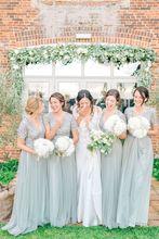 Short Sleeves Mint Green Chiffon Bridesmaid Dresses Long Wedding Guests Dress V-neck Sequined Bodice short sleeves v collo day dress