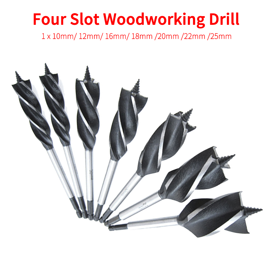 Hex Shank Twist Drill Bit Set Wood Fast Cut Auger Carpenter Joiner Tool Drill Bit For Drawer/ Door Lock/ Woodworking 10mm-25mm