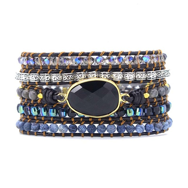 Prawdziwej skóry bransoletki dla z kamieniem naturalnym dla kobiet 5 nici Wrap bransoletka w stylu Vintage Boho tkania koralików bransoletka biżuteria