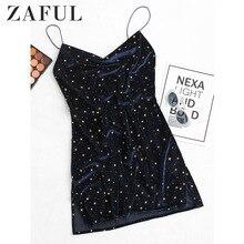 ZAFUL Women Stars Side Slit Velvet Cami Dress Star Cocktail Party Mini Dresses Sleeveless Spaghetti Strap A-Line Skinny Dresses