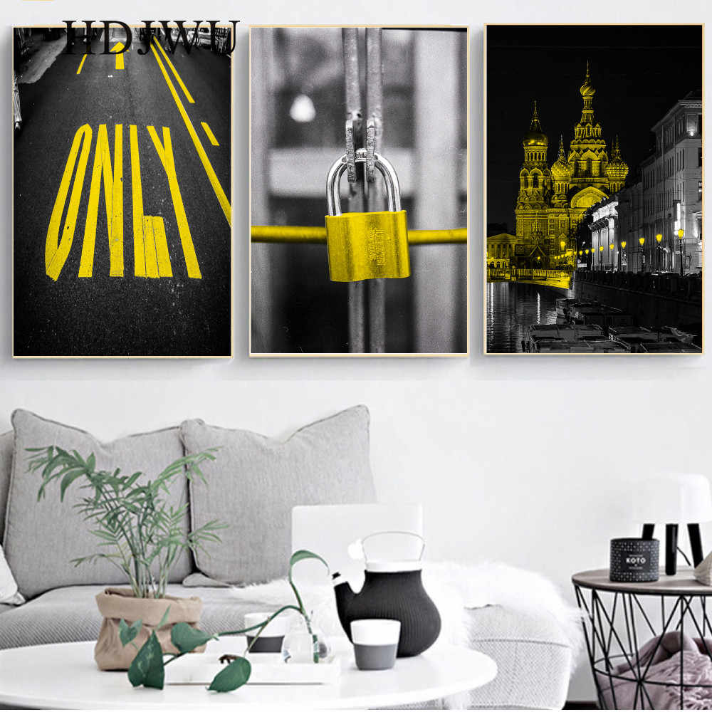 Nordic Canvas Painting Wall Triple Decorative Yellow City Printing Posters Wall Pictures for Living Room AJ00338 in Painting Calligraphy from Home Garden