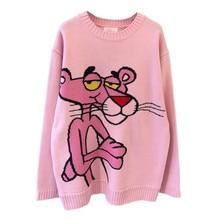 2021 primavera coreano nova camisola dos desenhos animados feminino solto leopardo em torno do pescoço solto casual pulôver tricô camisola feminina rosa topos