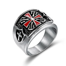 Religious Knights Templar Red Cross Silver Men Rings Punk Rock Hip Hop Biker Band Male Ring Titanium Stainless Steel DCR047(China)