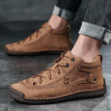 2020New Men's Fashion casual leather shoes plus size British high-top booties men plus size 47 size breathable non-slip(China)