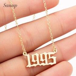 Женское и мужское ожерелье в форме цифр Sasusp, ожерелье с кулоном в виде цифр для женщин и мужчин, модель 1995, 1996, 1998, 2011