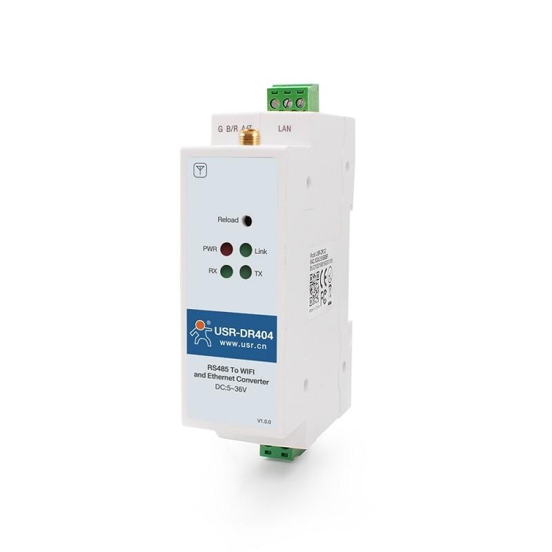 35mm Din Rail  Rs485 Serial Port  To Wifi Ethernet RJ45 Converter Server Data Modbus TCP And Modbus RTU