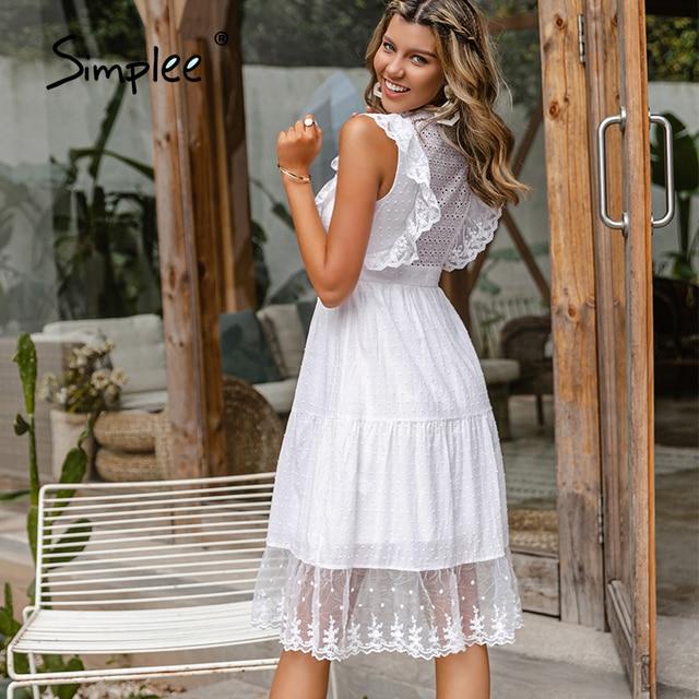 Simple Elegant ruffle lace white dress 6