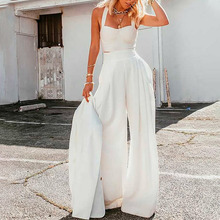 Women Solid Suits Sleeveless cropped Top High Waist Wide Leg Straight Pants 2 Piece Set Loose Casual Elegant Female Summer 2021