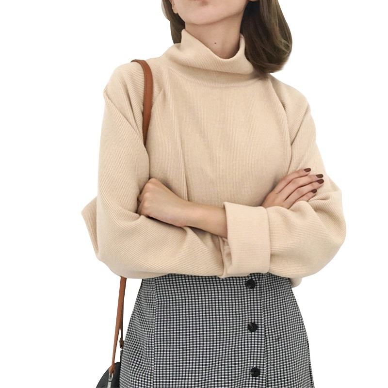 AECU1 Turtleneck Sweater For Women spring Autumn Knitted Jumper Women's Sweater Casual Loose Long Sleeve Jacket Pullover Female
