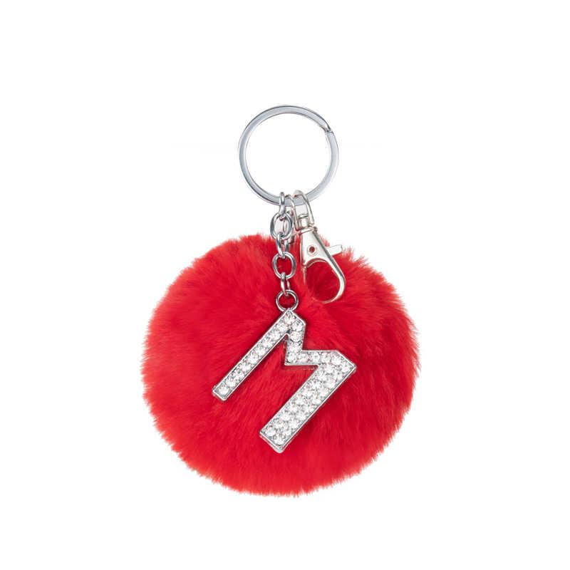 TEH Fluffy متعدد الألوان Pompom فرو الأرنب الصناعي الكرة سلاسل المفاتيح الكريستال خطابات حلقات المفاتيح حقيبة مجوهرات العصرية اكسسوارات هدية