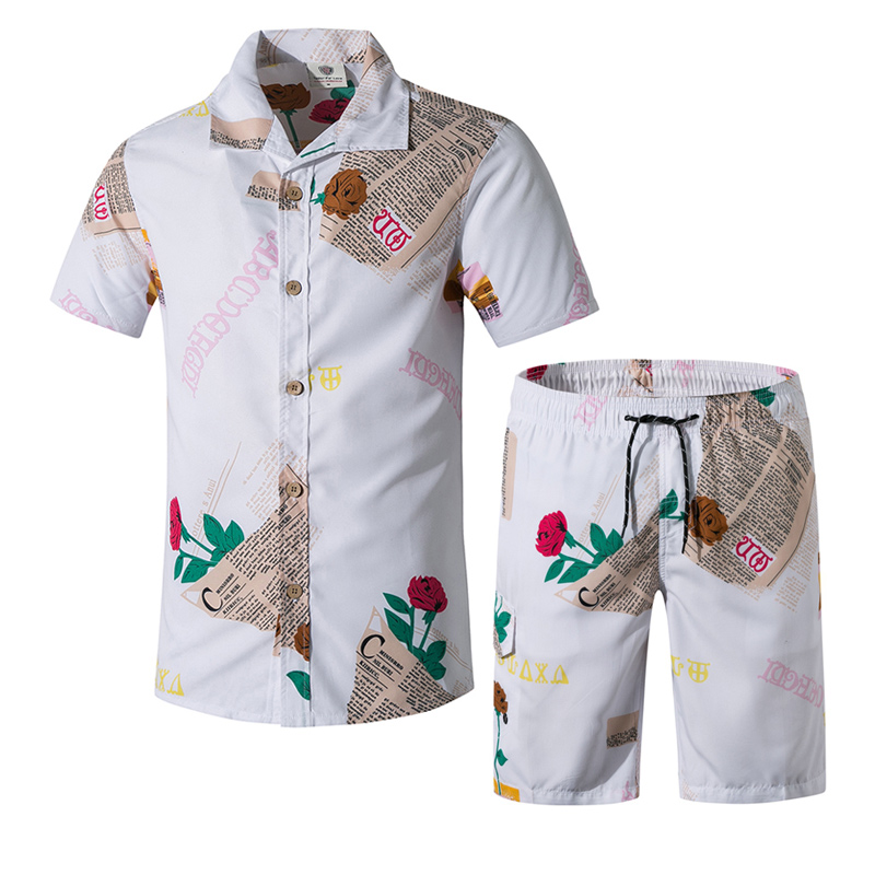 2020 New Men Street Wear Workout Sets Summer Men's Board Shorts Surf Shirts Male Print Floral Beach Wear Swimming Shorts 5XL
