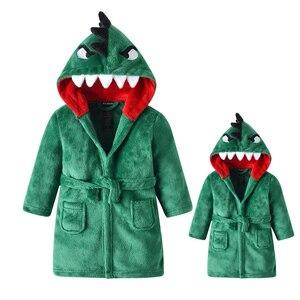 Bathrobe Shower Child's Parent-child Dinosaur Pajamas Unisex Adult Winter Warm Female Sleepwear Thicken Children's Dressing Gown