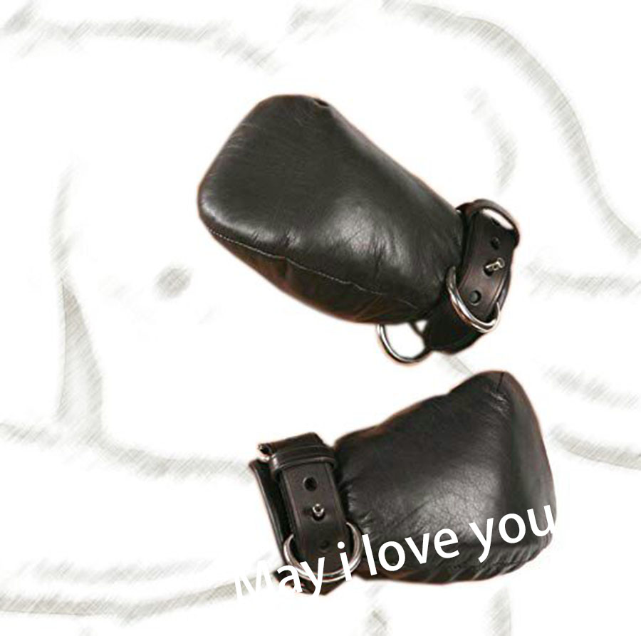 Bdsm Bondage Leather Padded Lined Bondage Fist Mitts Gloves,Protective Mitten,Adult Cosplay Accessories,Crawls Paws