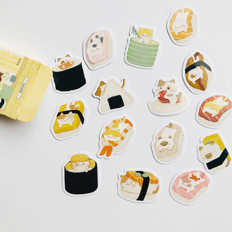 45 pcs /Box Lovely Little Cat Love Sushi Decorative Stickers Notebook Album Decoration Kids Gift