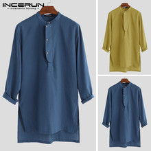 INCERUN Men Shirt Vintage Stand Collar Solid Color Long Sleeve Tops Button Casual Long Shirts Men Indian Kurta Suit 2019 S-5XL stand collar fashion leaves printed vintage button design shirts for men