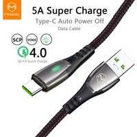 Mcdodo déconnexion automatique 40W câble de USB type C 5A Charge Super rapide pour Huawei 4A Charge Flash VOOC pour OPPO R17 VIVO câble de données