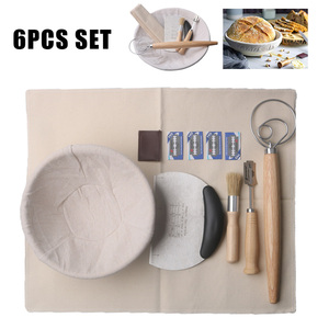 6Pcs Set Round Fermentation Proofing Dougn Rattan Basket Dough Whisk and Bread Lame Set Dough Scraper/Cutter Cake Baking Tools
