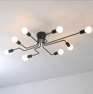 Image 2 - Люстра из кованого железа, с несколькими стержнями, для гостиной, винтажные светильники, промышленные, для чердака, нордическое домашнее освещение
