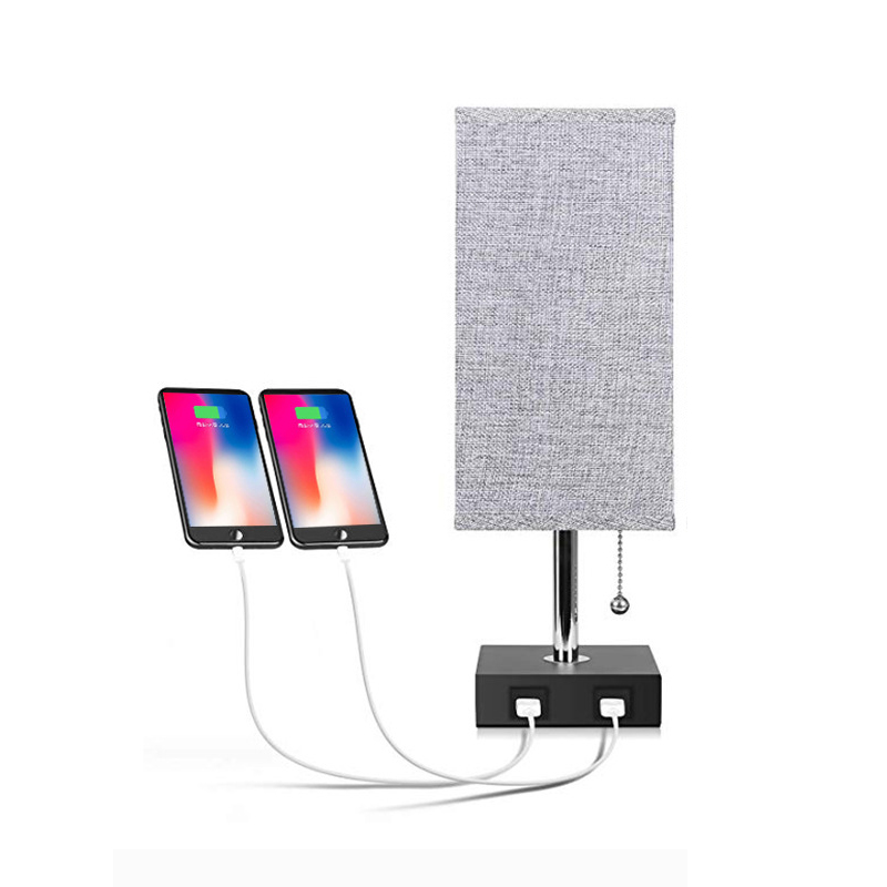 Modern Night LED Bed Table Light With Lampshade Charging USB Ports For Bedroom Living Room Loft Office Desk Room Decor Luminary