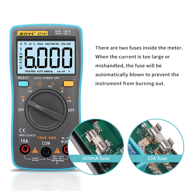 RM101 ZOYI ZT101 Digital Multimeter Backlight AC/DC Ammeter 6000 counts AC/DC Ammeter Voltmeter Ohm Portable Meter voltage meter