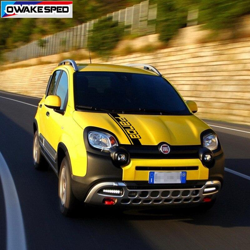 For Fiat Panda 4X4 Cross Off Road Styling Vinyl Decal Car Hood Bonnet Stripes Auto Engine Cover Decor Sticker