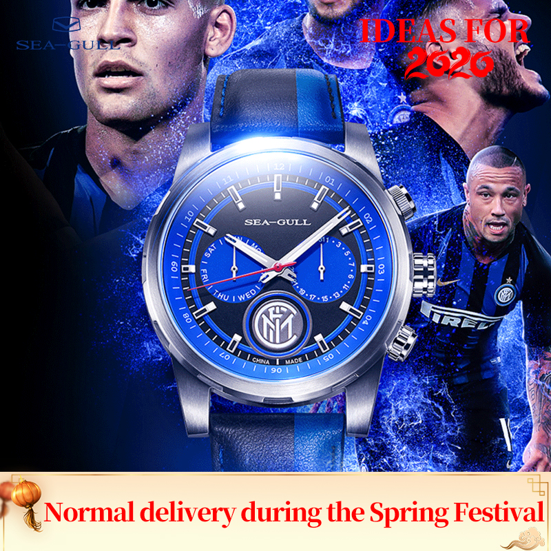 Seagull Watch Automatic Mechanical Watch <font><b>Inter</b></font> <font><b>Milan</b></font> Limited Edition Multiple Time Zone Calendar Week Black Leather Men Watches image